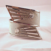Vintage Mid-Century or Space Age Demi Parure Cuff Clamper & Earrings