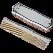 "Vintage Signed ""TUSKELOID"" Brush & Comb Set"