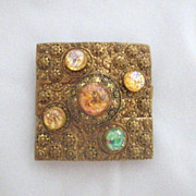 Vintage Belt Buckle with Foiled Glass Cabochons