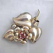 Vintage Signed Sterling Silver Vermeil Brooch