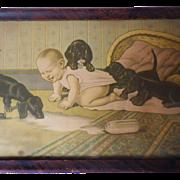 Vintage Framed Print of Baby & Dachshunds