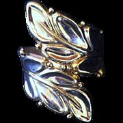 Vintage Signed Sterling Silver Large Leaf Clamper Bracelet