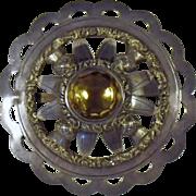 Antique Sterling Silver & Cairngorm Scottish Shoulder Brooch