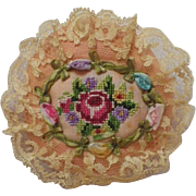 Vintage Silk Pin Cushion with Petit Point Embroidery