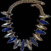 Vintage Huge Navette Rhinestone Necklace