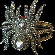 Fabulous Vintage Rhinestone Spider Clamper Bracelet