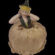 Vintage Porcelain Half Doll Pin Cushion