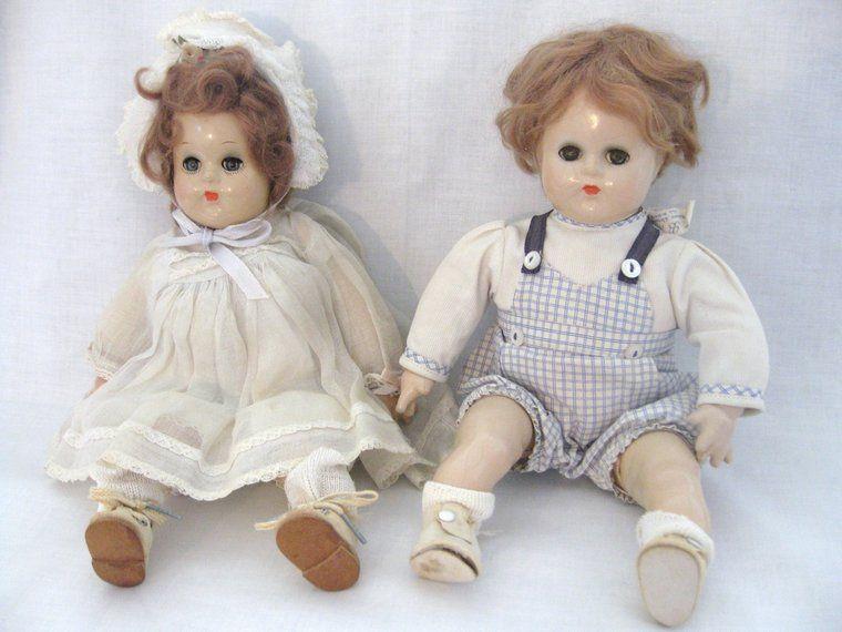 Vintage Madame Alexander Butch & Bitsy Composition Dolls