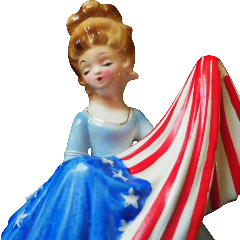 Vintage Musical Josef Original Betsy Ross With Flag From