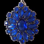 Vintage Sapphire Blue Rhinestone Pendant