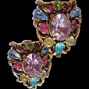 Vintage Signed Hollycraft Rhinestone Earrings