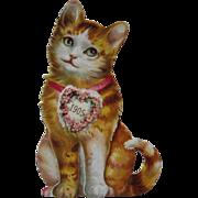 SOLD 1905 Raphael Tuck Mechanical Cardboard Die Cut Cat Calendar Heart Complete