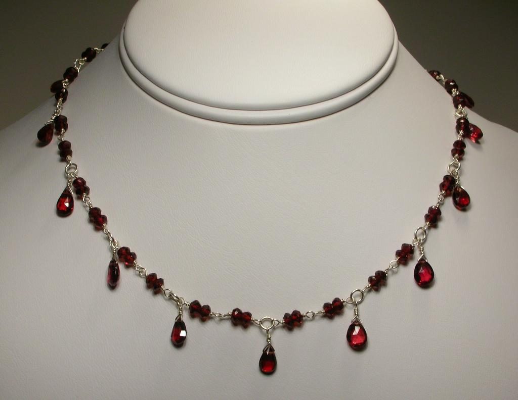 Sterling Silver Garnet Necklace With Pear Drops From