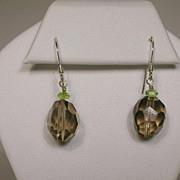 Smoky Quartz and Peridot Earrings