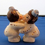 SALE Vintage Hugging Monkeys In Bellhop Caps Salt and Pepper Shakers