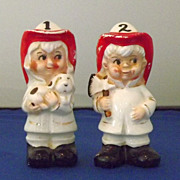 Vintage Fireman and Firewoman Salt and Pepper Shakers