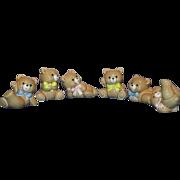 Set of 6  Russ Porcelain Berrie Patchwork Bears Figurines