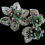 SALE Hobe' Molded Glass Flower Pin Brooch & Earring Set