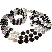 Hobe' Black Parure 3 strand Necklace, bracelet and earring set
