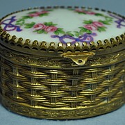 Victorian Porcelain Topped Oval Gilded Box