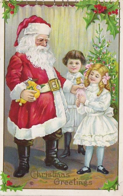 Santa Claus and Two Edwardian Children & Doll series 227