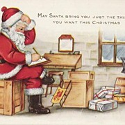Santa With His Last MInute Check Whitney List Post Card