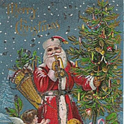 German Belsnickle Santa Stunning card w/ Glitter & Cupids