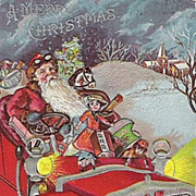 Old World Santa Saint Nicholas Driving Car Deeply Embossed