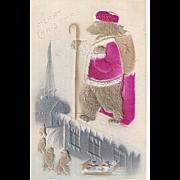 Teddy Bear Dressed as Santa with Basket of Teddy Bears Embossed