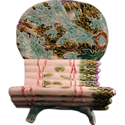Majolica Asparagus Footed Holder-Drainage Holes With Matching Platter