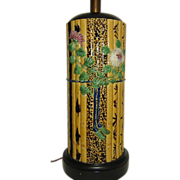 Majolica Table Lamp  Bamboo Pattern Fantastic and Tall