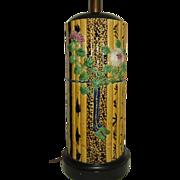 Majolica Table Lamp  Bamboo Pattern Fantastic and Tall