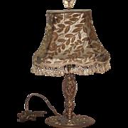 Art Nouveau Table Lamp Nouveau Lady with Original Cut Velvet Shade + Finial