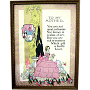 """Mother Motto Print  """"To My Mother"""" Art Deco Era Framed"""