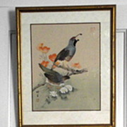 Japanese Bird Prints Signed and Framed    2 piece Pair