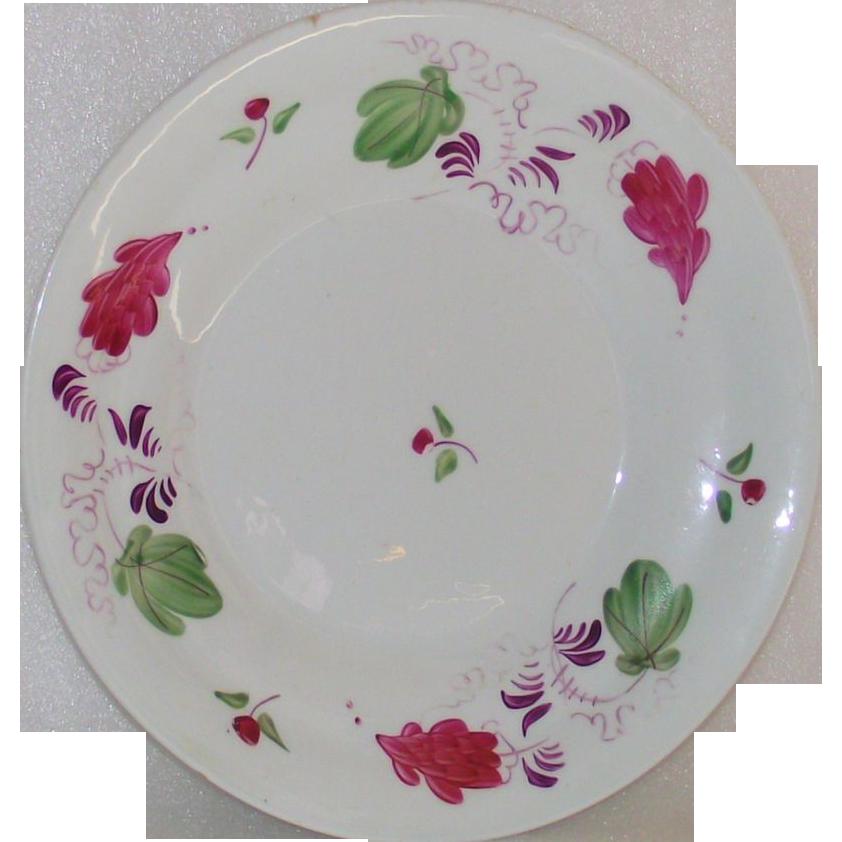 Leeds Type Soft Paste Pottery  Deep Plate  Circa 1820's