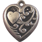 SOLD Sterling Silver Heart in a Heart Enamel Puffy Charm - Red Tag Sale Item