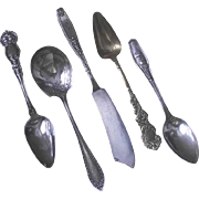 Kittens in a Basket Silver Plate Spoon part of a Mixed Lot of Flatware