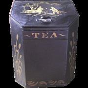 English Tea Tin with Chinoiserie Decoration Circa 1890