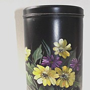 Tole Ware Canister with Yellow & Purple Flowers Hand Painted