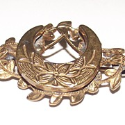Victorian Horseshoe Shaped Gold Tone Brooch