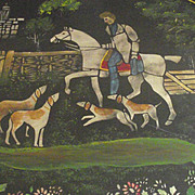 Tole Tray Tray Hunting Scene Circa 1900 with Stand