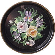 """13 ½"""" Round Hand Painted Floral Tole Tray Iris, Roses and Violets"""