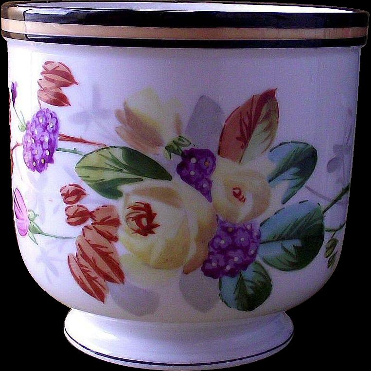 Hand Painted Cache' Pot Floral Bouquet