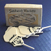 Mid Century - 1950s Hard Plastic Restaurant Sandwich Markers in orig. Box