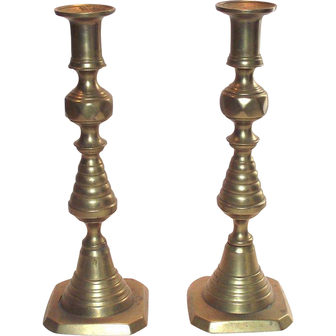 English Brass Push-Up Beehive Candlesticks