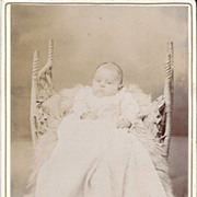 Real Photo Baby in Long Christening Gown-Victorian Chair With Fur