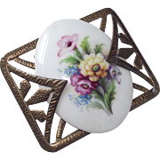 1930s Art Deco Brass and Porcelain Floral Brooch