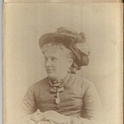 Real Photo Woman w/ Book Chain Necklace & Locket and Great Big Hat