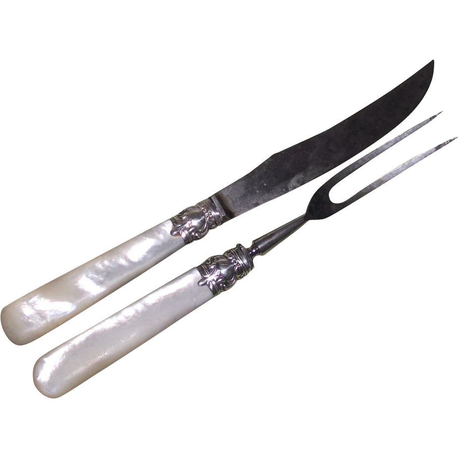 Mother of Pearl Handle Sterling Ferrule Game Bird Carving Set